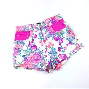 Minkpink Electric Field Floral Denim Shorts Size S